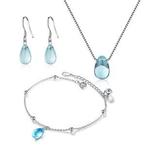[Set of  3] 925 Sterling Silver Crystal Water Drop